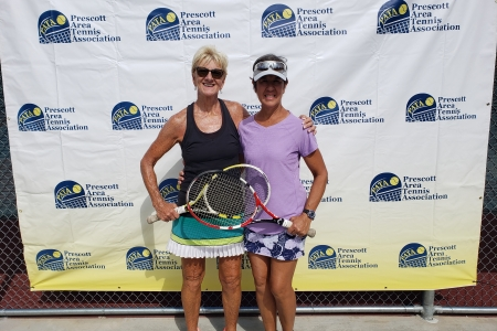 Womens 55 Doubles Champions - Kathy Fackrell & Julie-Post
